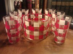 VIntage Barware Set Of 7 Red & White Check Pattern HighBall Glasses With Ice Bucket. $29.00, via Etsy.