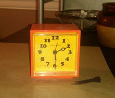 "Vintage Phinney-Walker Small Orange Alarm Clock 2.5""w × 2.75""h Made in Japan"