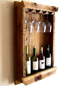 Wine Bottle Rack / Wine Rack / Wine Glass by TheBarnYardShop- ugh I want!