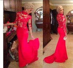 High Neck Red Mermaid Prom Dresses,Long Sleeves Closed Back Evening Dress,Sheer Lace Appliques Women Formal Dress Gown