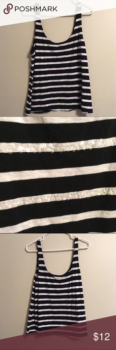 🆕Striped Sparkle Tank Striped tank with subtle sequins. Scoop neck in back and front. Offers welcome, bundles encouraged! Banana Republic Tops Tank Tops