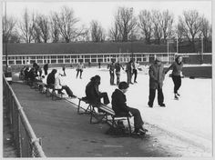 Stadspark met schaatsers op de (kunst)ijsbaan in 1975 - Foto's SERC