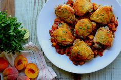 crispy chicken with spicy peaches