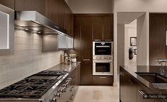 Light Brown Glass Subway Backsplash Tile Cabinet Dark Brown Granite Countertop
