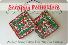 Scarppy Potholder Sewing Tutorial You will want to gather some fabric. I used scraps for the tutorial today. I had fabric left over from making lots of these potholders for my Etsy Shop. You can also use larger pieces of fabric. You will need to be able to cut 1 1/2 inch wide strips. They don't have to be very long, although you will need some the length of the potholder {around 8 inches} so…