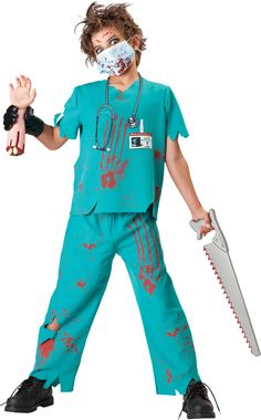 Shirt, pants, vinyl illusion hand and mask. Toy saw, VA62 Stethoscope and DD386…