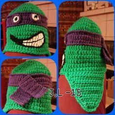 Godson gets a crocheted hat. Turtles. Kummipojalle virkattu pipo lahjaksi.