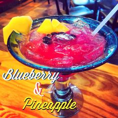 Blueberry & Pineapple Margarita from Chili's Jose Cuervo Especial® Tequila, triple sec & fresh sour, INFUSED for 48 hours with blueberries & pineapple. 8⃣