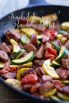 Smoked Sausage and Zucchini Skillet with Tomatoes-Yummy and easy!