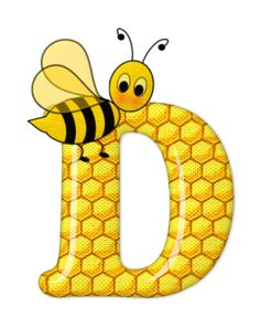 Alphabet letters bee on honeycomb.