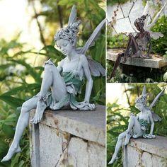 Fairy Statues, Garden Statues, Garden Sculpture, Outdoor Landscaping, Outdoor Decor, Colorful Garden, Garden Ornaments, Fairy Houses, Plein Air