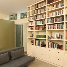 mixed cabs and shelves \\ contemporary home office by Mark English Architects, AIA Home Library, Bookcase, Home, Shelves, Bookshelves In Living Room, Home Office Design, Home N Decor, Minimalist Home, Home Decor