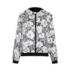 TOPSHOP Satin Floral Hooded Bomber (195 BRL) ❤ liked on Polyvore featuring outerwear, jackets, topshop, coats & jackets, leigh, black, bomber jacket, floral bomber jacket, style bomber jacket and flower print bomber jacket
