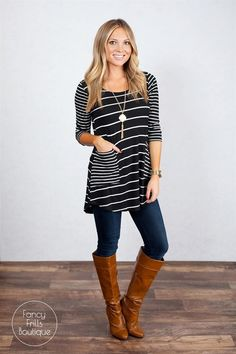We are in LOVE with our new fabulous Striped Pocket tunic to add to your Winter wardrobe! We love the stripes and pockets to give this tunic a pop that is sure to have you turning heads! The tunic length is great for leggings or jeans. The cotton/poly material is great quality and so comfortable and flattering. This is sure to be your favorite new go-to tunic, you may need every color! Sizing: SM 0-4Med 4-8Large 8-12Model is wearing a size small. Fits true to size and is a loose, ...
