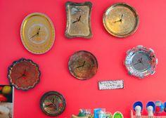 recycled tray clocks