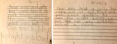 """""""Occupational therapy is often used to improve fine motor skills, like handwriting. These are two writing samples from a 9-year-old child taken last year, one before beginning occupational therapy and one after."""" -NYTimes.com"""