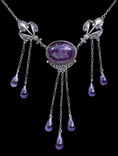 JUGENDSTIL - Necklace. Silver Amethyst. German, c.1900
