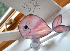 Baby Pink Whale  Stained Glass Nightlight by dortdesigns on Etsy, $15.00