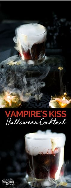 Vampire's Kiss Cocktail - Halloween Cocktail | Recipe | Spooky | Easy | Spooky | with Dry Ice #halloween #cocktail #wine