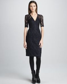 Lace Half-Sleeve Dress by Burberry London at Neiman Marcus.