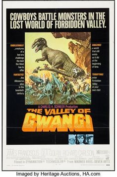 """Movie Posters:Science Fiction, The Valley of Gwangi (Warner Brothers, 1969). One Sheet (27"""" X41""""). Science Fiction.. ..."""