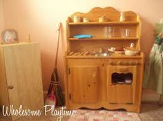 Natural Wooden Play Kitchen from Elves and Angels waldorf playroom