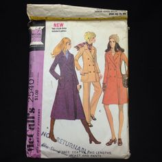 VTG 1970 McCall's Sewing Pattern 2540 Misses 10 Coat Two Lengths Jacket Pants #McCall #Vintage