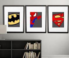 PICK superhero wall PRINTS, Super hero wall art boys room art or playroom art already printed, superhero kids room or nursery Boy Room, Kids Room, Superhero Wall Art, Baby Superhero, Playroom Art, 12 Image, Wall Prints, Decoration, Pick 3