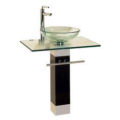 Bathroom Vanity Sink Combo with Chrome Faucet Modern Wood Pedestal Glass Vessel Glass Vessel Sinks, Glass Vanity, Vessel Sink Bathroom, Single Sink Bathroom Vanity, Glass Bathroom, Vanity Sink, Bathroom Vanities, Bathroom Ideas, Bath Ideas