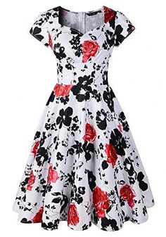 online shopping for HUADA Women's Retro Shirtwaist Flared Summer Floral Dress Swing Skaters from top store. See new offer for HUADA Women's Retro Shirtwaist Flared Summer Floral Dress Swing Skaters Unique Prom Dresses, Vintage Style Dresses, Dresses For Sale, 1950s Style, Robe Swing, Swing Dress, Ball Dresses, Ball Gowns, Floral Retro