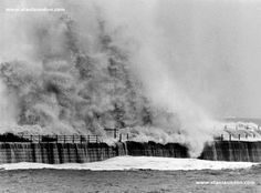 We have no idea when this photograph was taken but it was suggested to me that it might have been during the great storm of 1953 with giant waves hitting the New Pier (Heugh Breakwater) in old Hartlepool.