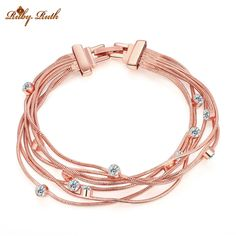 Multi-layer Rose Gold Bracelet with Crystals