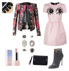 Edgy pink by staciapandalover on Polyvore featuring polyvore, fashion, style, RED Valentino, Balmain, Sergio Rossi, Topshop, Sephora Collection and clothing