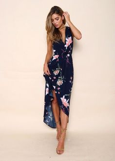 Market Day Midi Dress - Navy Floral