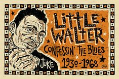 Big Little Walter Blues Folk Art Poster Art By Grego - Mojohand ...