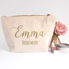 Ivory Personalised Bridesmaid Gift Make Up Bag by HanmadeDesignsUK on Etsy https://www.etsy.com/listing/253869671/ivory-personalised-bridesmaid-gift-make