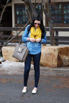 Denim on denim for a very casual look. Half knot and loafers. Utah Fasion Blogger I The Red Closet Diary #fashionblogger #fashion