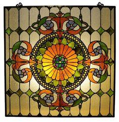 Chloe Lighting Tiffany Style Victorian Window Panel ~ available for purchase via JoySavor http://joysavor.com/product/chloe-lighting-tiffany-style-victorian-window-panel-with-89-cabochons/