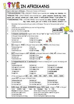 Tye in Afrikaans 1st Grade Worksheets, Preschool Worksheets, Language Lessons, Speech And Language, Teaching Aids, Teaching Resources, School Resources, Afrikaans Language, Afrikaans Quotes