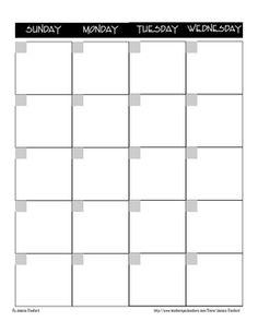 Calanders  Blank Calendars  Weekly Blank Calendar Templates
