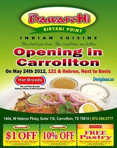 Bawarchi Biryani point opening in dallas, Texas USA.