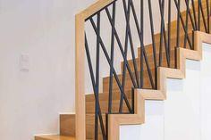 Staircase Railing Design, Interior Stair Railing, Modern Stair Railing, Staircase Handrail, Iron Stair Railing, Home Stairs Design, Wooden Staircases, Dark Wooden Floor, Stair Renovation