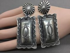 NAVAJO ~BIG BOLD~STERLING SILVER ~TOOLED ~EARRINGS BY VINCENT PLATERO  | eBay
