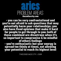 Zodiac Aries problems areas.