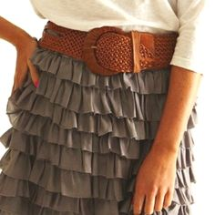 pretty gray ruffle skirt