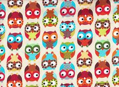 Owl Cotton Fabric Cream, Blue, Red- Retro for Children Timeless Treasure 1/2 mtr