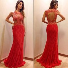 2016 Red Lace Prom Dress Mermaid Evening Dresses