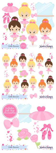 Ballerina Clipart for crafts and products. Cute for a dance party! Ballerina Party, Crisp Image, Cute Characters, Art Images, Paper Dolls, Illustration, Clip Art, Baby Shower, Dance