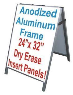 "Aluminum A-Frame 24""x36"" Double Sided Sidewalk Sign w/2 White Dry Erase Panels"
