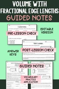 Looking for guided notes to help you teach your 6th graders how to find Volume of Prisms with fractional edge lengths? These guided notes support the standard 6.G.A.2 and will help guide your students through the key information of this standard.